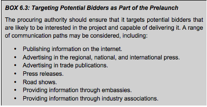 BOX 6.3: Targeting Potential Bidders as Part of the Prelaunch<br />