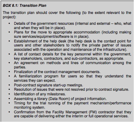 BOX 8.2: Transition Plan<br />
